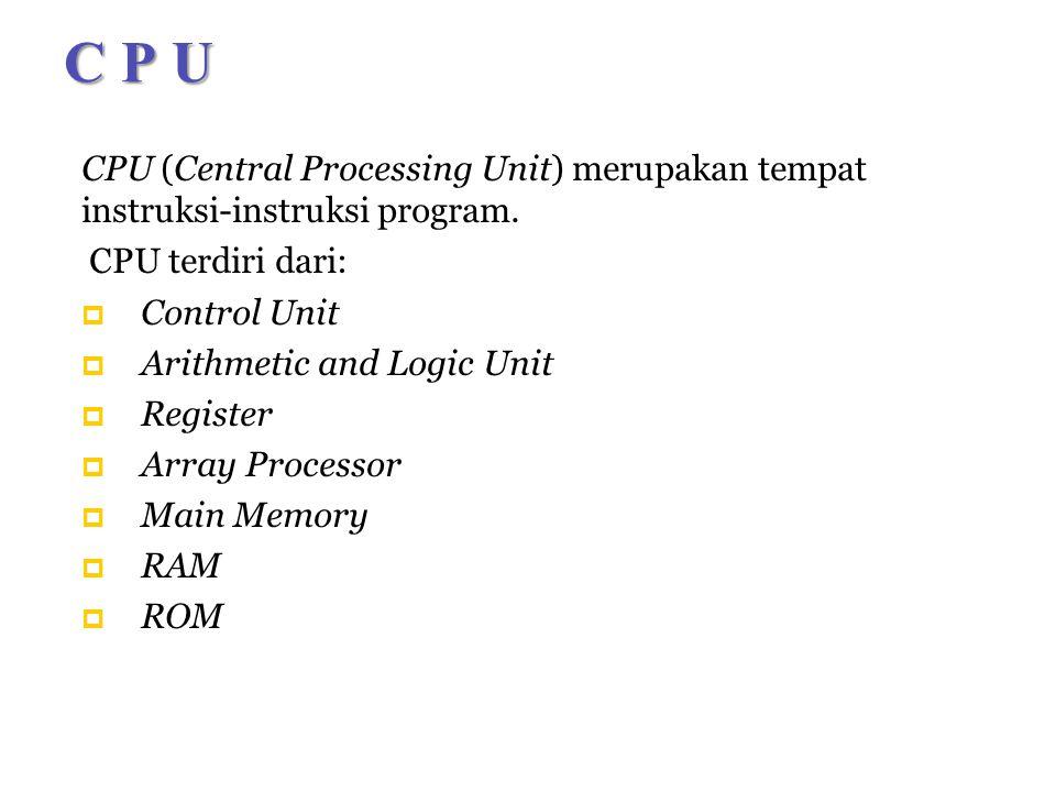 C P U CPU (Central Processing Unit) merupakan tempat instruksi-instruksi program.