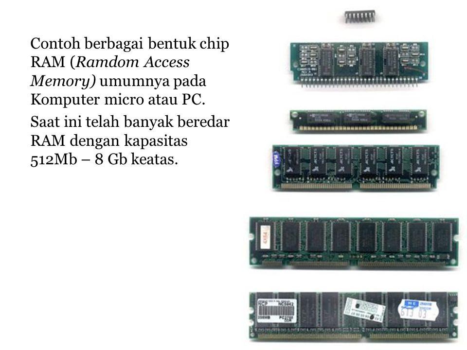 Contoh berbagai bentuk chip RAM (Ramdom Access Memory) umumnya pada Komputer micro atau PC.