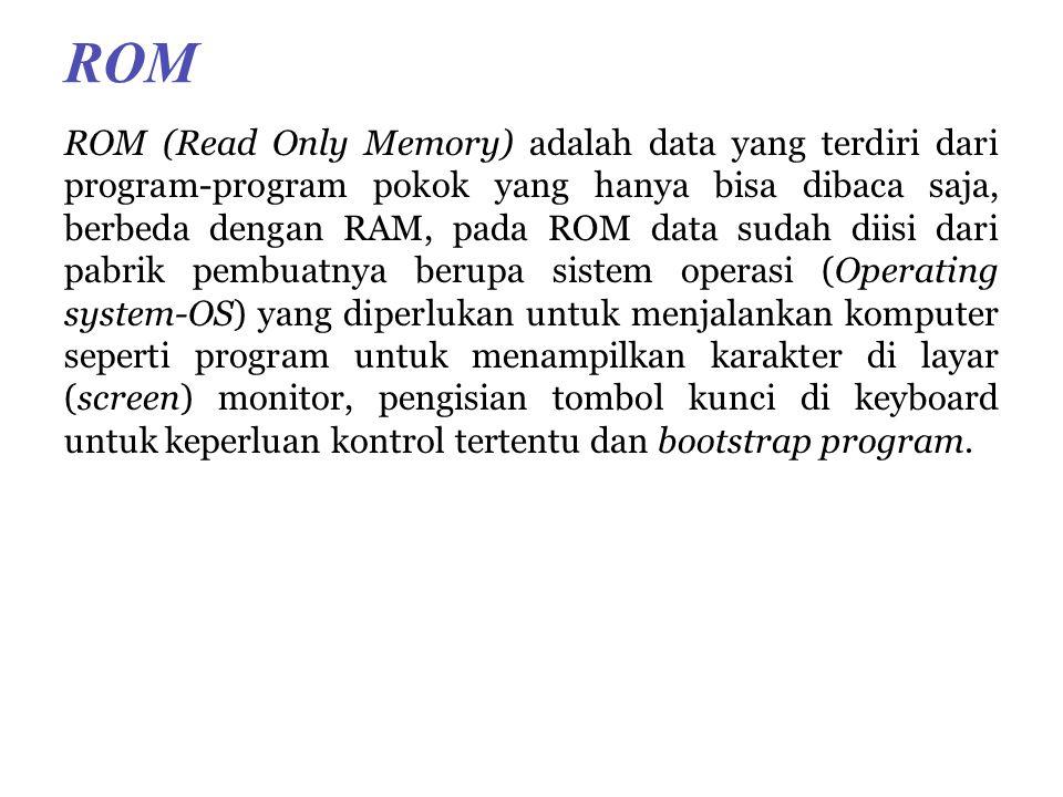 ROM ROM (Read Only Memory) adalah data yang terdiri dari program-program pokok yang hanya bisa dibaca saja, berbeda dengan RAM, pada ROM data sudah diisi dari pabrik pembuatnya berupa sistem operasi (Operating system-OS) yang diperlukan untuk menjalankan komputer seperti program untuk menampilkan karakter di layar (screen) monitor, pengisian tombol kunci di keyboard untuk keperluan kontrol tertentu dan bootstrap program.