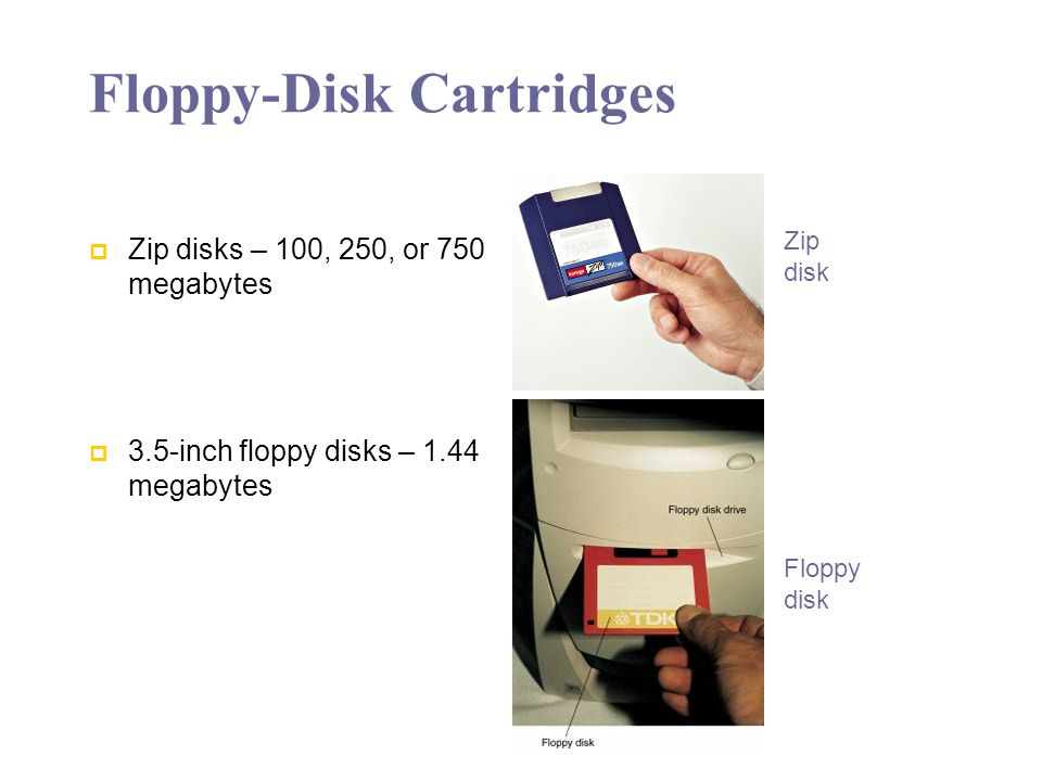 Floppy-Disk Cartridges Zip disks – 100, 250, or 750 megabytes 3.5-inch floppy disks – 1.44 megabytes Zip disk Floppy disk