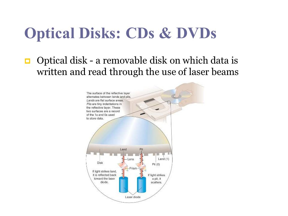 Optical Disks: CDs & DVDs Optical disk - a removable disk on which data is written and read through the use of laser beams