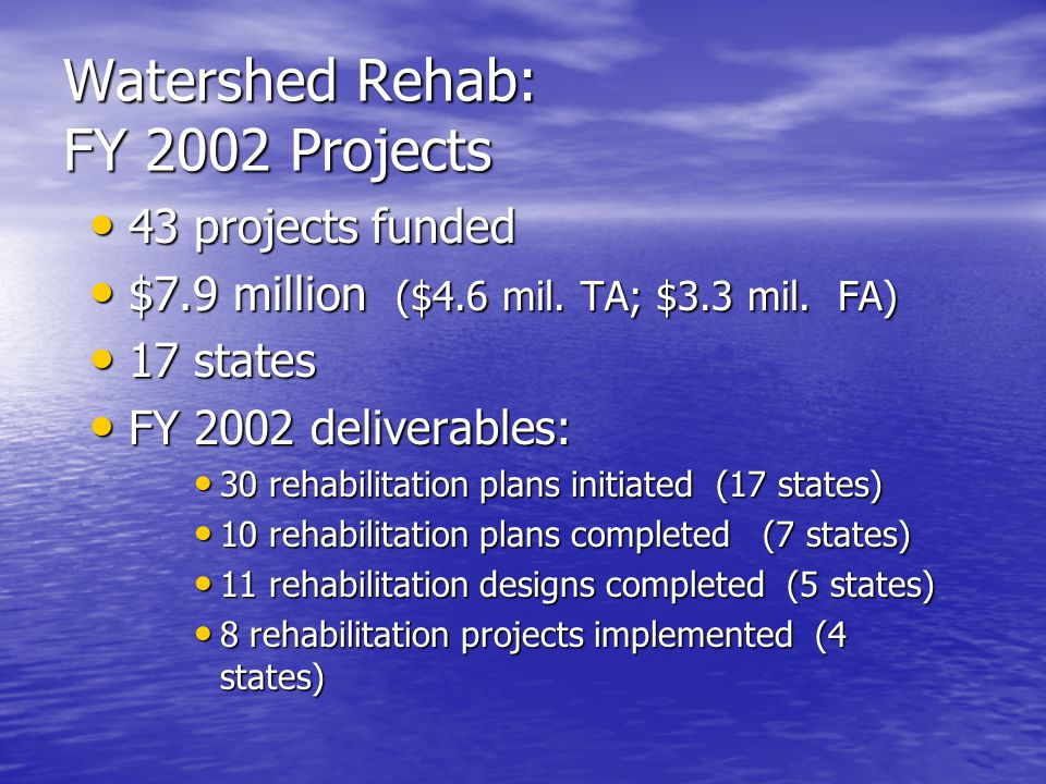 Watershed Rehab: FY 2002 Projects 43 projects funded 43 projects funded $7.9 million ($4.6 mil.