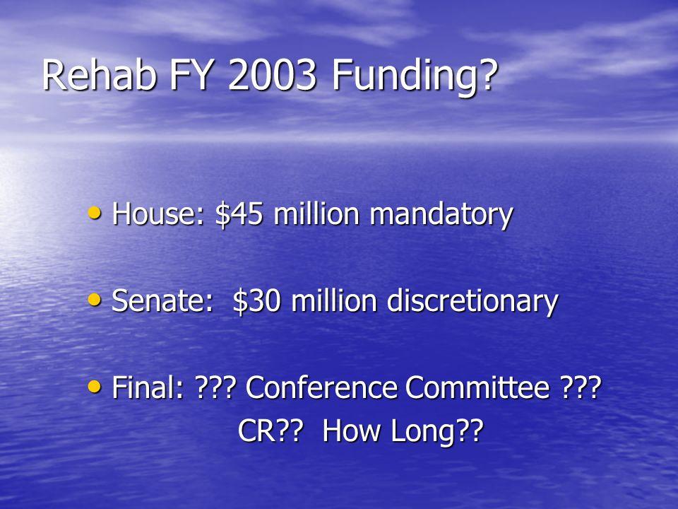 Rehab FY 2003 Funding.