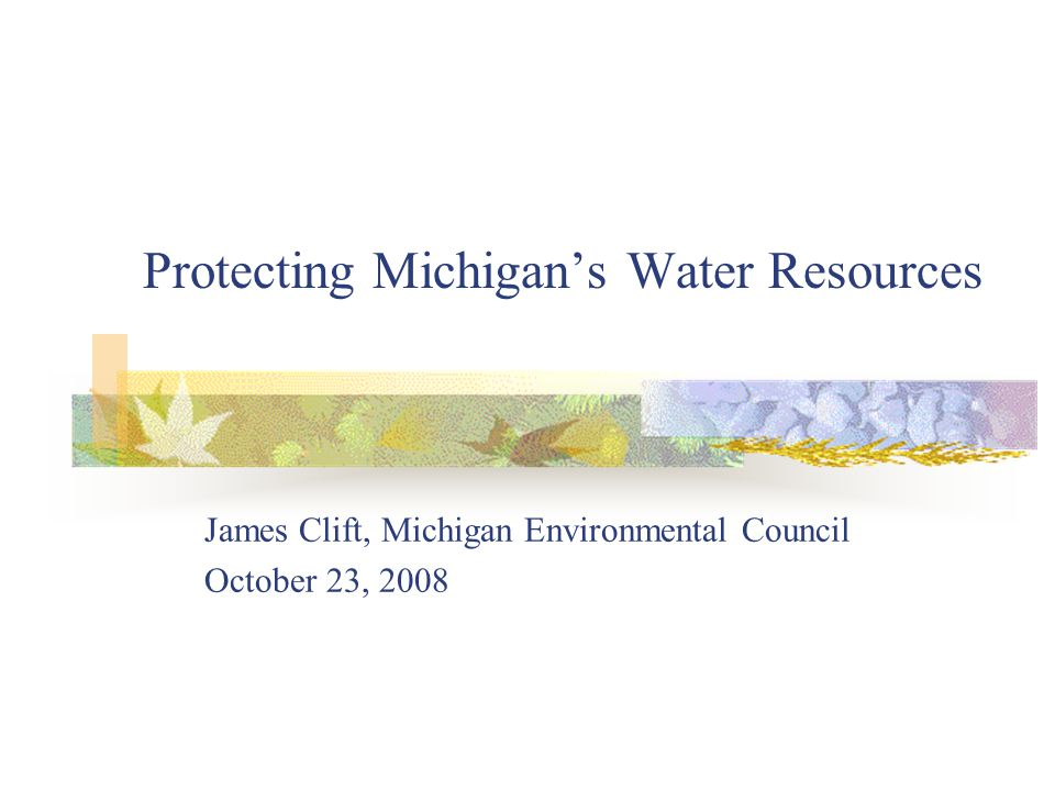 Protecting Michigans Water Resources James Clift, Michigan Environmental Council October 23, 2008