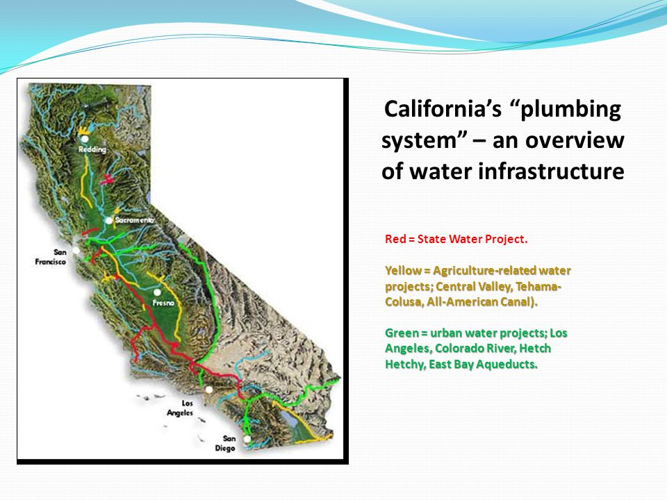 Californias plumbing system – an overview of water infrastructure Red = State Water Project. Yellow = Agriculture-related water projects; Central Vall