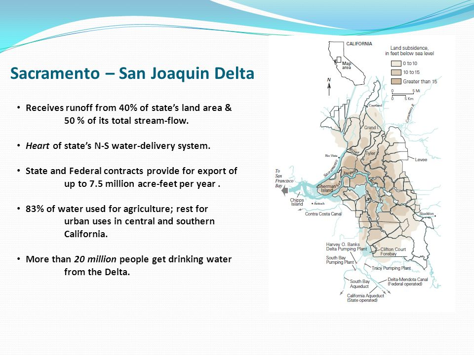 Sacramento – San Joaquin Delta Receives runoff from 40% of states land area & 50 % of its total stream-flow. Heart of states N-S water-delivery system