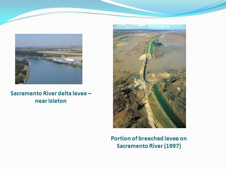 Sacramento River delta levee – near Isleton Portion of breeched levee on Sacramento River (1997)