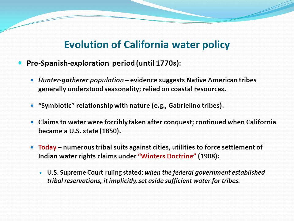 City of Los Angeles agreed, in 1939, to provide, in perpetuity, 4350 acre/feet of water per year to three reservations - Bishop, Big Pine and Lone Pine Tribes.
