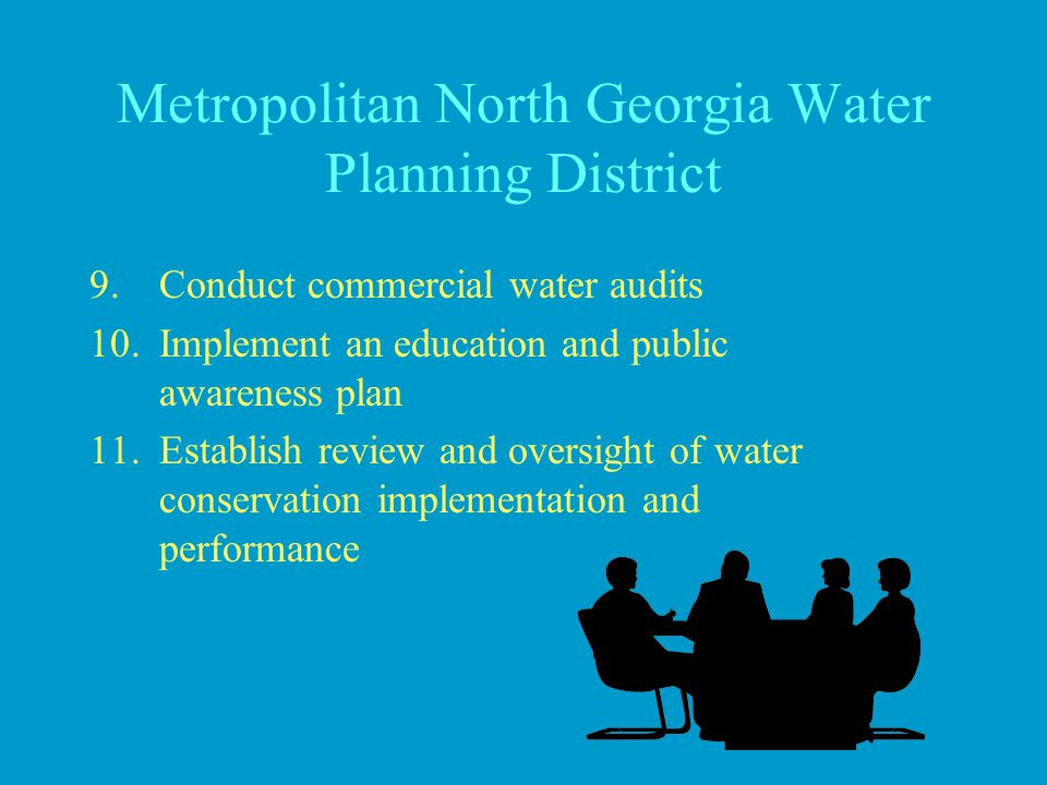 Metropolitan North Georgia Water Planning District 9.Conduct commercial water audits 10.Implement an education and public awareness plan 11.Establish