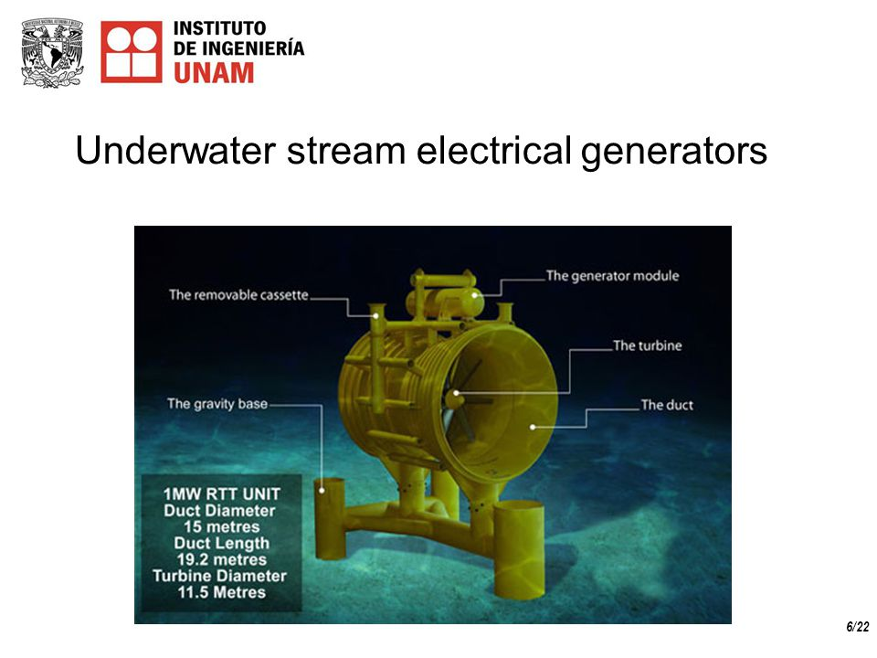 6/22 Underwater stream electrical generators