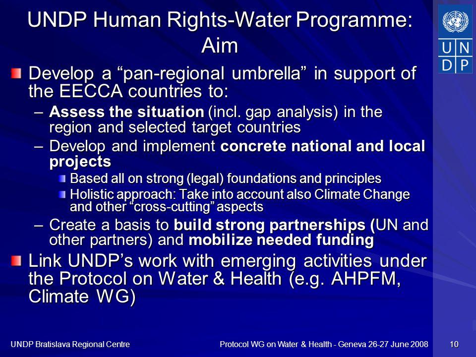 Protocol WG on Water & Health - Geneva 26-27 June 2008 UNDP Bratislava Regional Centre 10 UNDP Human Rights-Water Programme: Aim Develop a pan-regiona