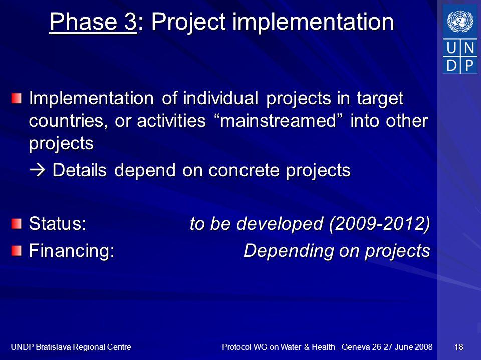 Protocol WG on Water & Health - Geneva 26-27 June 2008 UNDP Bratislava Regional Centre 18 Phase 3: Project implementation Implementation of individual