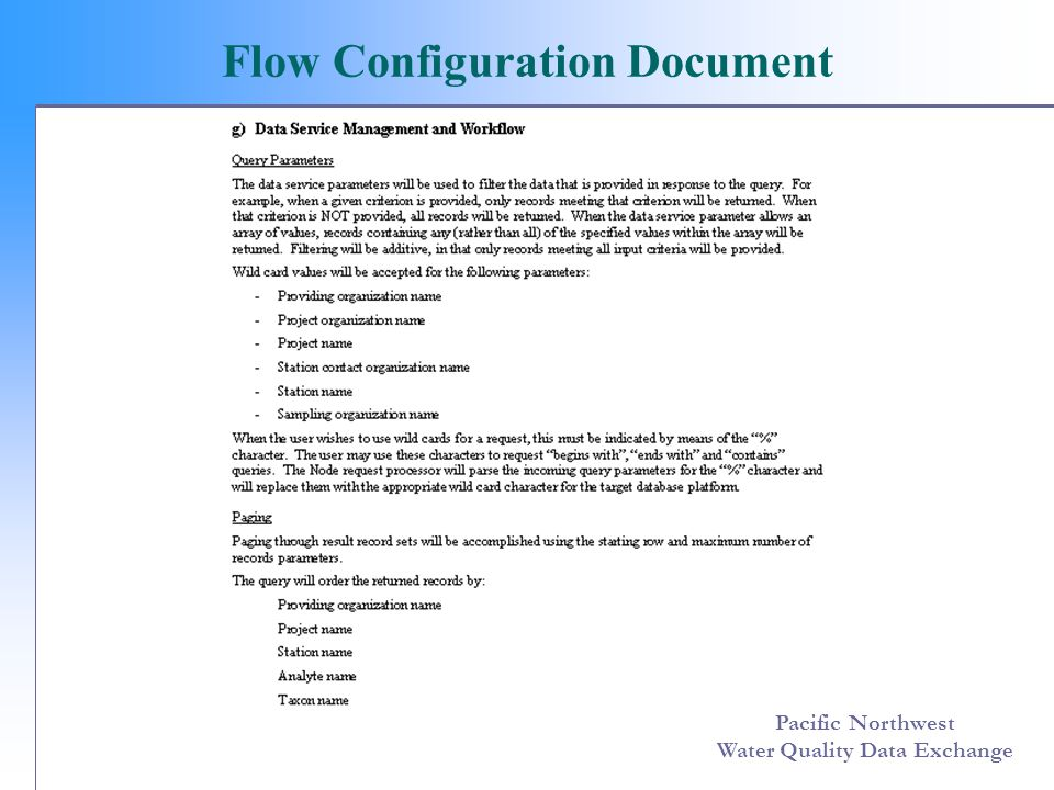 Pacific Northwest Water Quality Data Exchange Flow Configuration Document