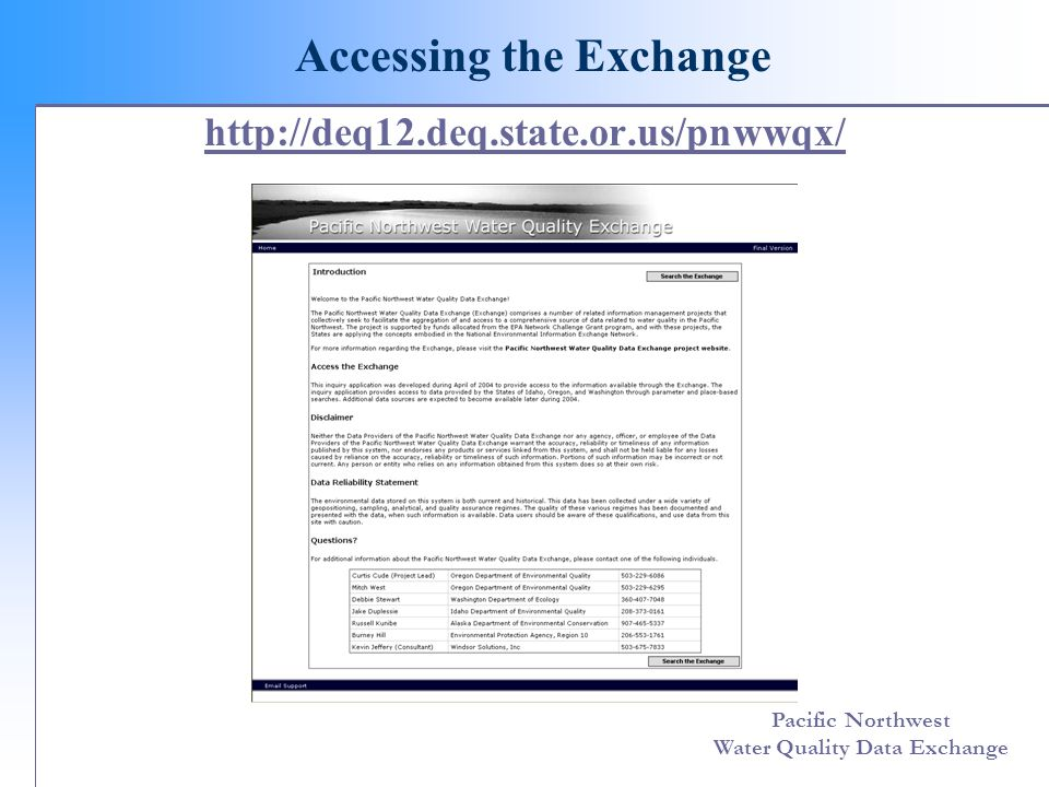 Pacific Northwest Water Quality Data Exchange http://deq12.deq.state.or.us/pnwwqx/ Accessing the Exchange