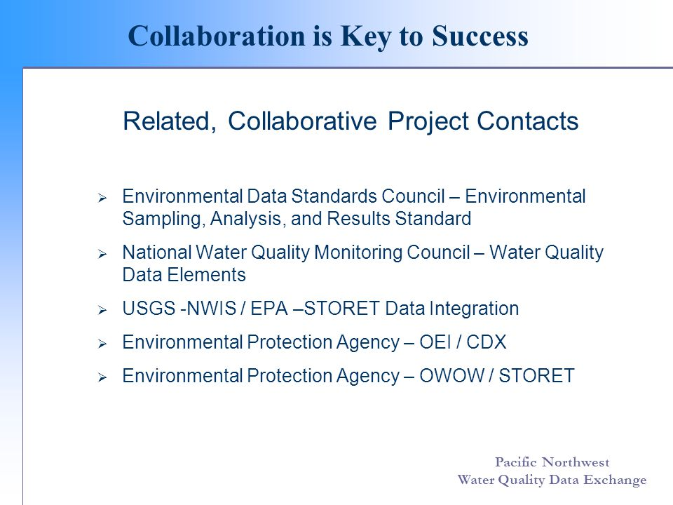 Pacific Northwest Water Quality Data Exchange Collaboration is Key to Success Related, Collaborative Project Contacts Environmental Data Standards Council – Environmental Sampling, Analysis, and Results Standard National Water Quality Monitoring Council – Water Quality Data Elements USGS -NWIS / EPA –STORET Data Integration Environmental Protection Agency – OEI / CDX Environmental Protection Agency – OWOW / STORET