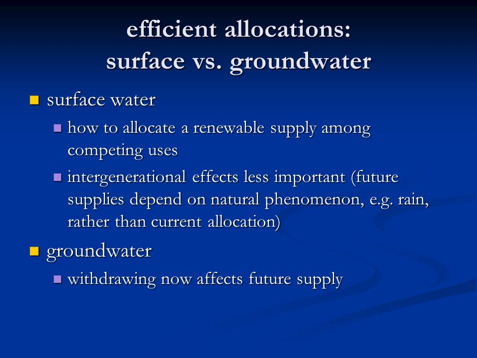 efficient allocations: surface vs.