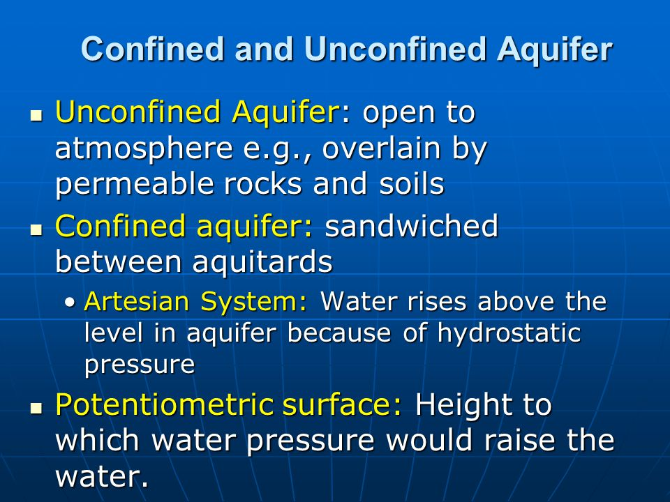 Confined and Unconfined Aquifer Unconfined Aquifer: open to atmosphere e.g., overlain by permeable rocks and soils Unconfined Aquifer: open to atmosph