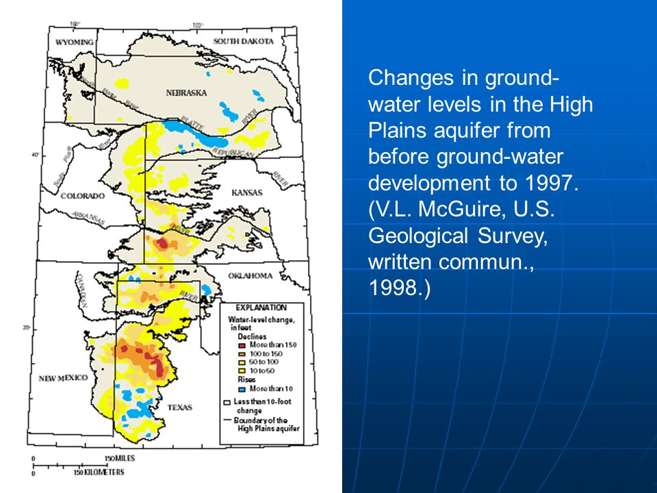 Changes in ground- water levels in the High Plains aquifer from before ground-water development to 1997. (V.L. McGuire, U.S. Geological Survey, writte