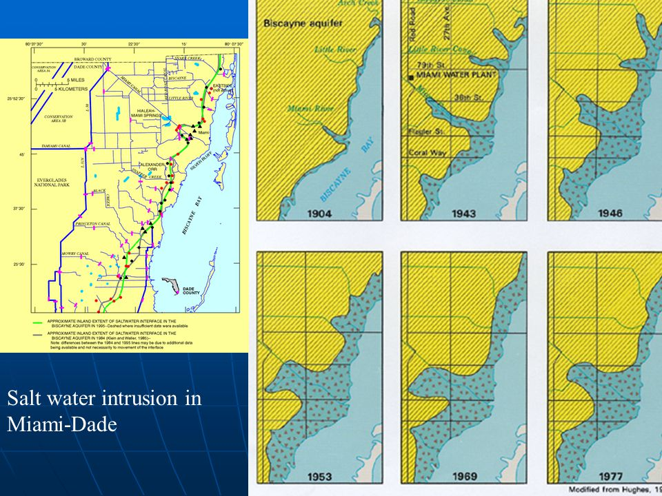 Extent of salt water incursion in Miami- Dade Salt water intrusion in Miami-Dade