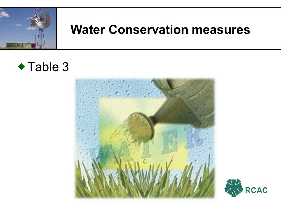 RCAC Water Conservation measures Table 3
