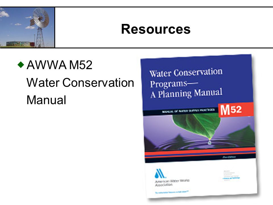 RCAC Resources AWWA M52 Water Conservation Manual
