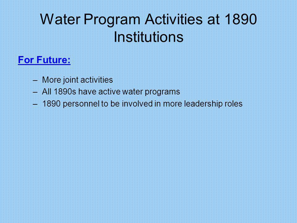 Water Program Activities at 1890 Institutions For Future: –More joint activities –All 1890s have active water programs –1890 personnel to be involved in more leadership roles