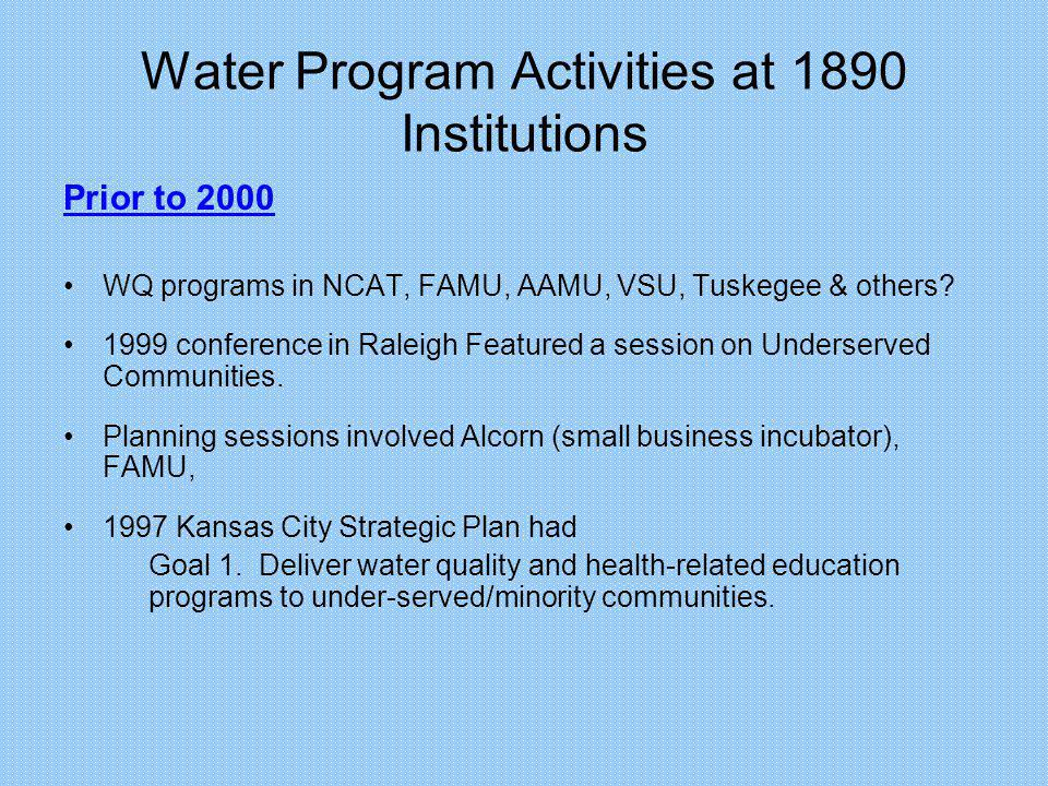 Water Program Activities at 1890 Institutions Publication: Development of chemical index as a measure of in-stream water quality response to land-use and land cover changes.