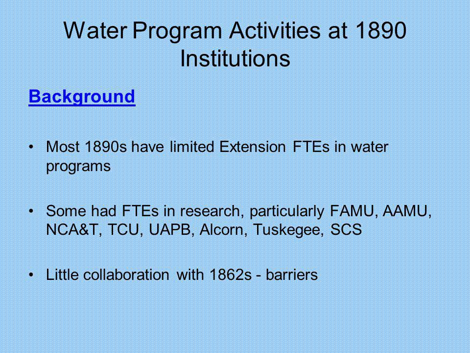 Water Program Activities at 1890 Institutions Barriers to Collaboration From the 1862: –Perception that they dont show up.