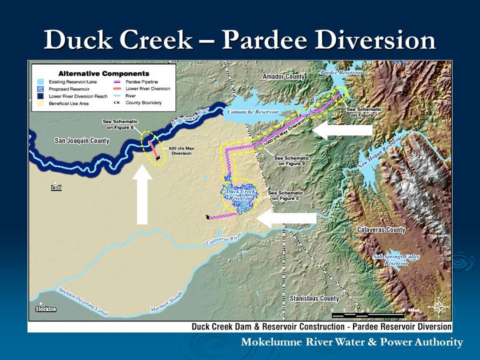 Duck Creek Reservoir Diversion 1,000 cfs diversion or 650 million gallons per day Mokelumne River Water & Power Authority