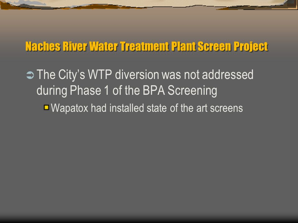 Naches River Water Treatment Plant Screen Project The Citys WTP diversion was not addressed during Phase 1 of the BPA Screening Wapatox had installed state of the art screens