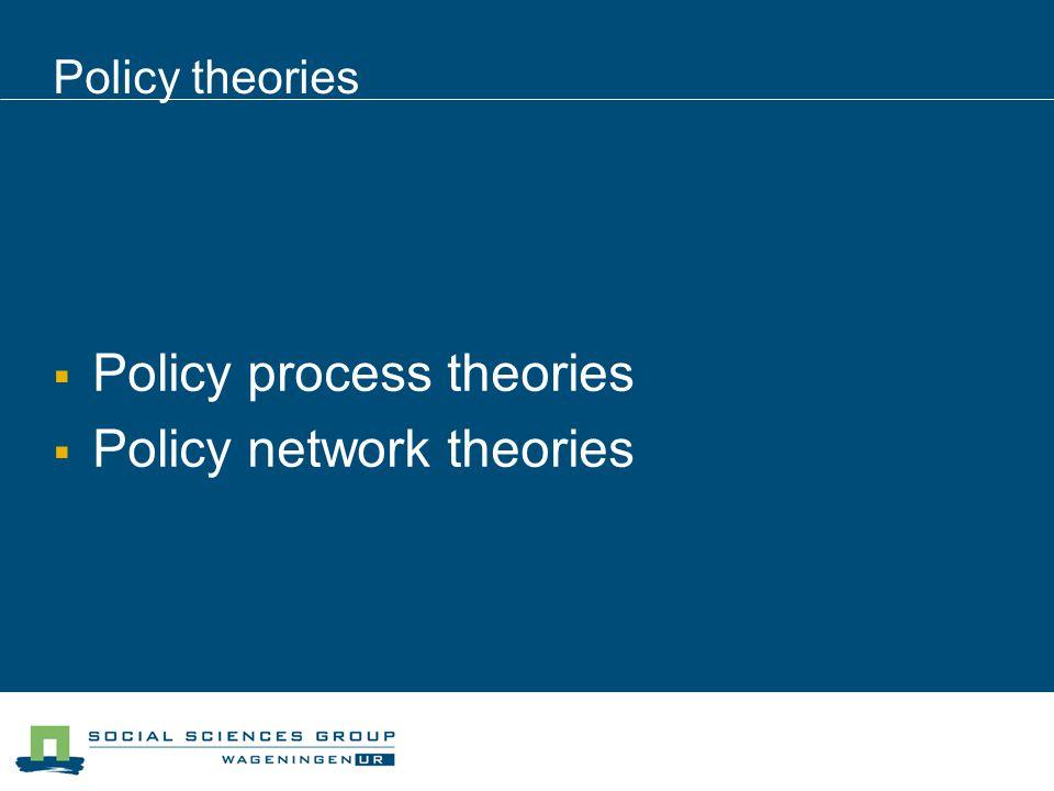 Policy theories Policy process theories Policy network theories