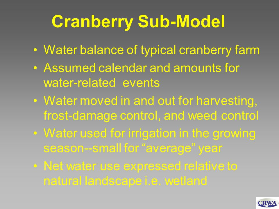 Cranberry Sub-Model Water balance of typical cranberry farm Assumed calendar and amounts for water-related events Water moved in and out for harvestin
