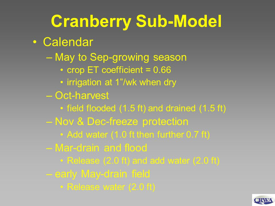 Cranberry Sub-Model Calendar –May to Sep-growing season crop ET coefficient = 0.66 irrigation at 1/wk when dry –Oct-harvest field flooded (1.5 ft) and