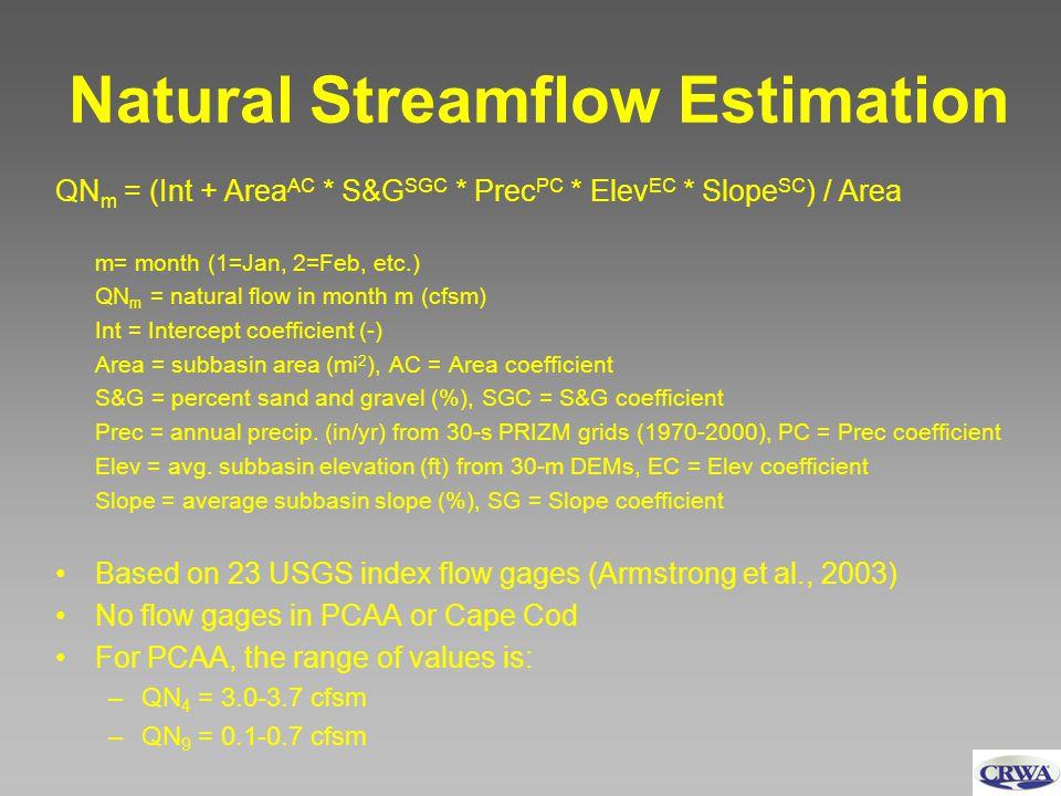 Natural Streamflow Estimation QN m = (Int + Area AC * S&G SGC * Prec PC * Elev EC * Slope SC ) / Area m= month (1=Jan, 2=Feb, etc.) QN m = natural flo