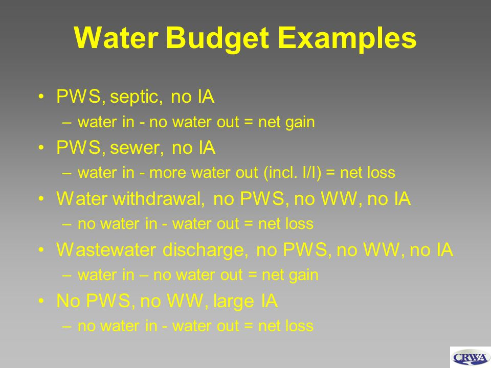 Water Budget Examples PWS, septic, no IA –water in - no water out = net gain PWS, sewer, no IA –water in - more water out (incl.