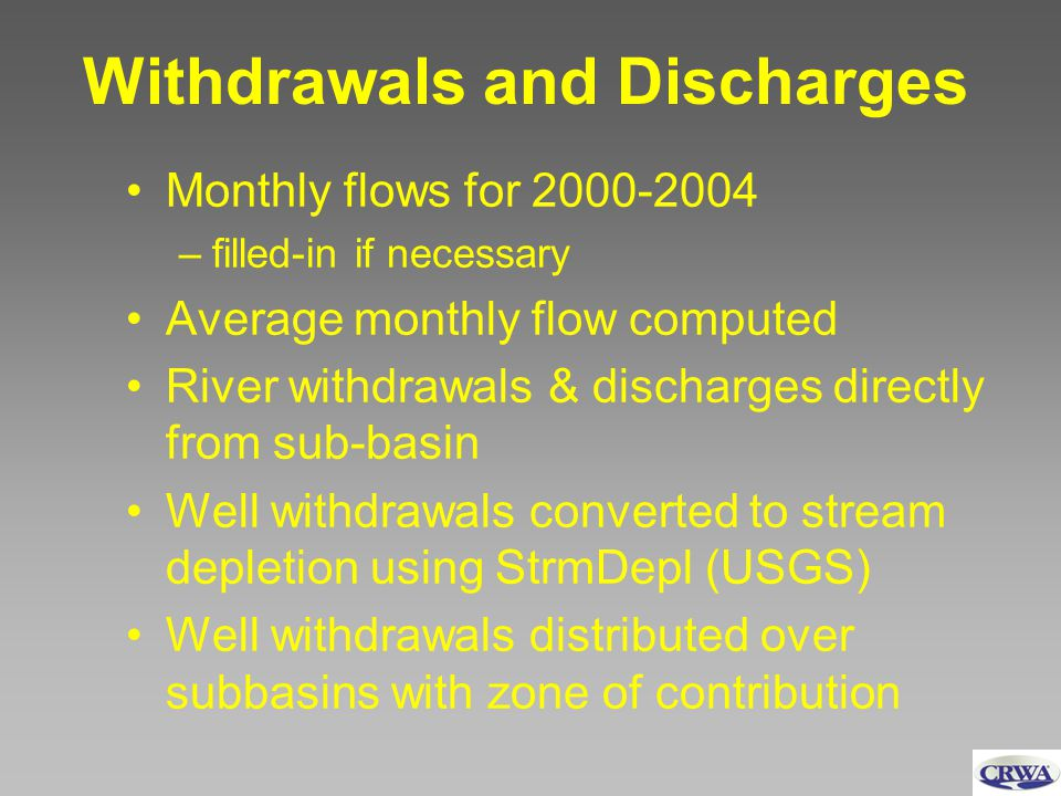 Withdrawals and Discharges Monthly flows for 2000-2004 –filled-in if necessary Average monthly flow computed River withdrawals & discharges directly from sub-basin Well withdrawals converted to stream depletion using StrmDepl (USGS) Well withdrawals distributed over subbasins with zone of contribution