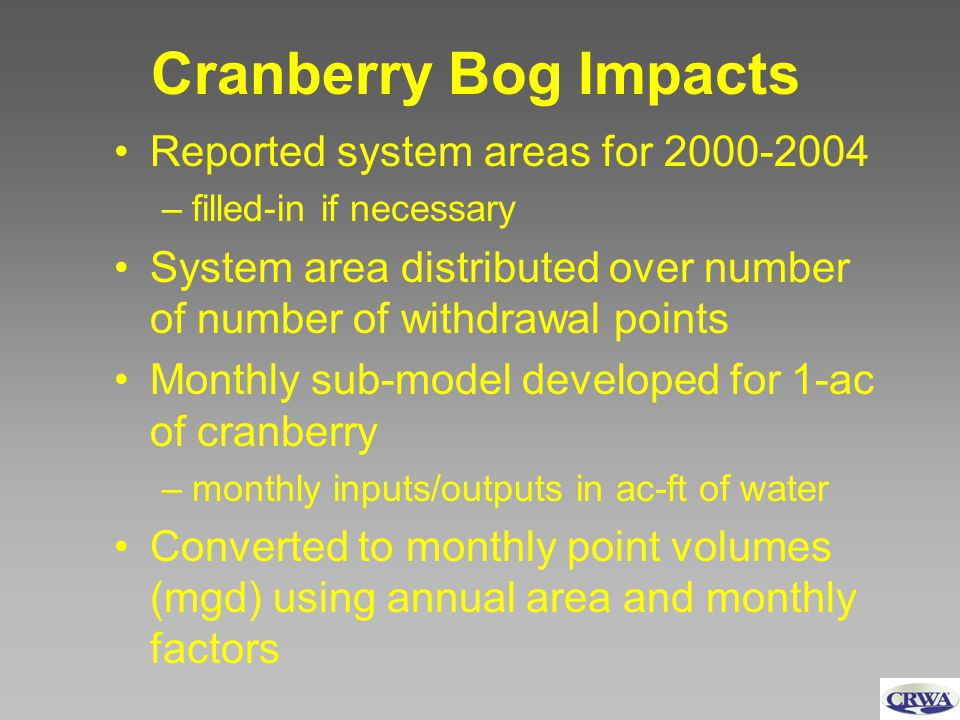 Cranberry Bog Impacts Reported system areas for 2000-2004 –filled-in if necessary System area distributed over number of number of withdrawal points M