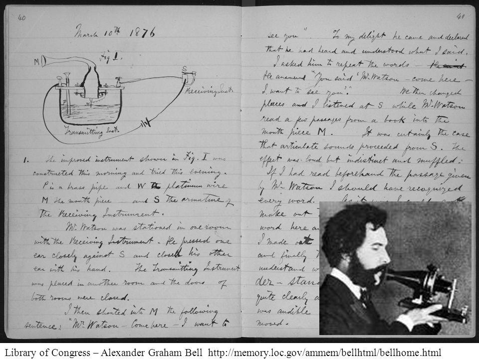 Library of Congress – Alexander Graham Bell http://memory.loc.gov/ammem/bellhtml/bellhome.html