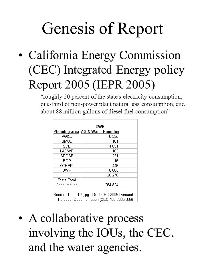 Genesis of Report California Energy Commission (CEC) Integrated Energy policy Report 2005 (IEPR 2005) –roughly 20 percent of the state's electricity c