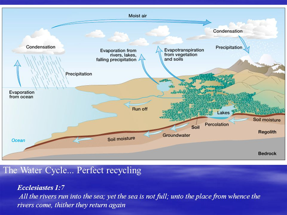 The Water Cycle... Perfect recycling Ecclesiastes 1:7 All the rivers run into the sea; yet the sea is not full; unto the place from whence the rivers