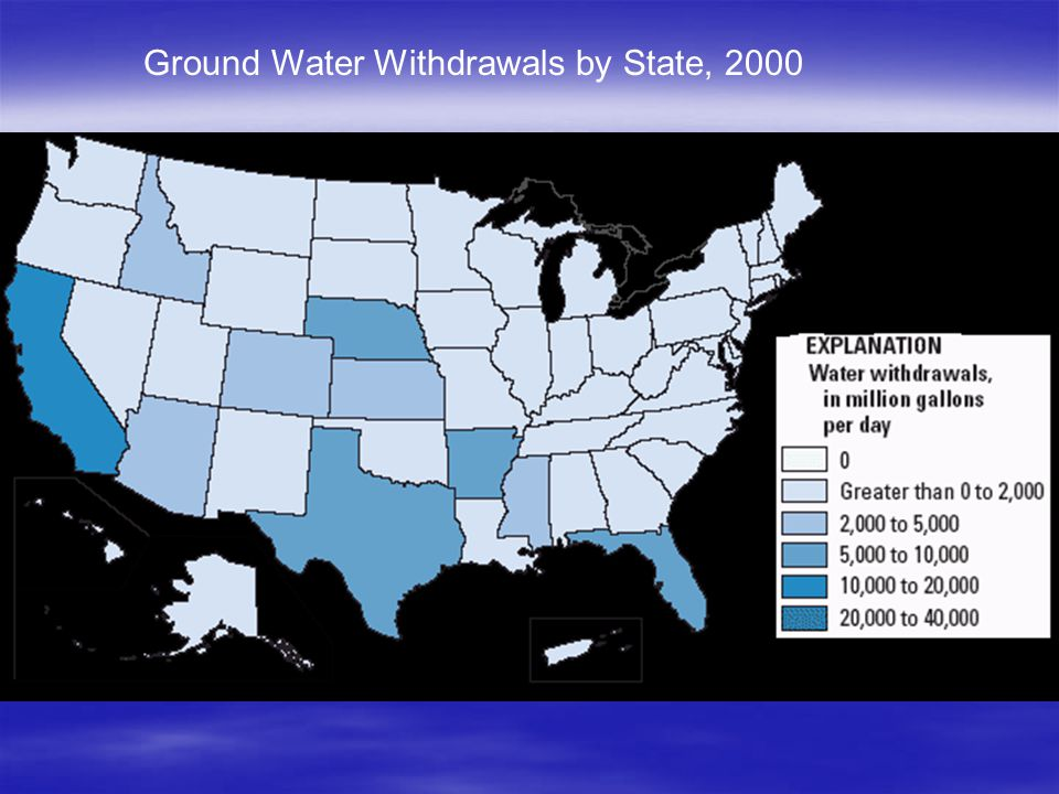 Ground Water Withdrawals by State, 2000