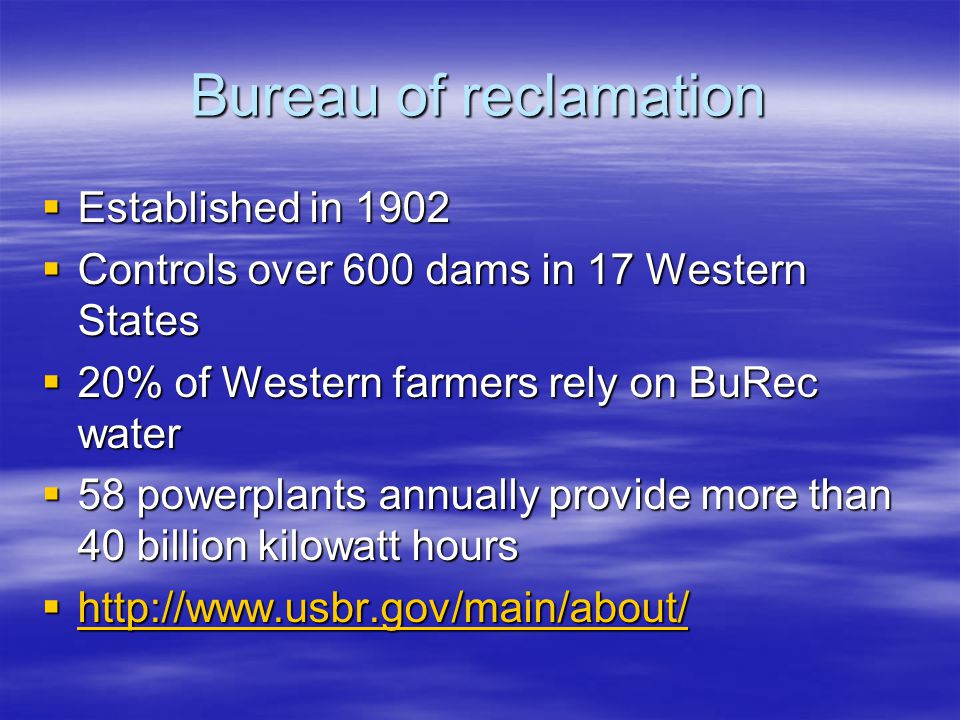 Bureau of reclamation Established in 1902 Established in 1902 Controls over 600 dams in 17 Western States Controls over 600 dams in 17 Western States
