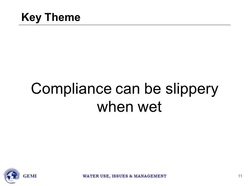 WATER USE, ISSUES & MANAGEMENT 11 Key Theme Compliance can be slippery when wet
