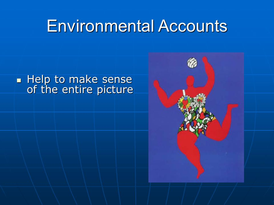 Environmental Accounts Help to make sense of the entire picture Help to make sense of the entire picture