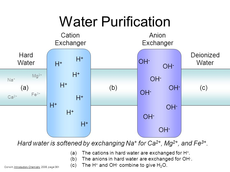 Water Purification Hard Water Cation Exchanger Anion Exchanger Deionized Water (a) (b)(c) H+H+ H+H+ H+H+ H+H+ H+H+ H+H+ H+H+ H+H+ OH - (a)The cations in hard water are exchanged for H +.