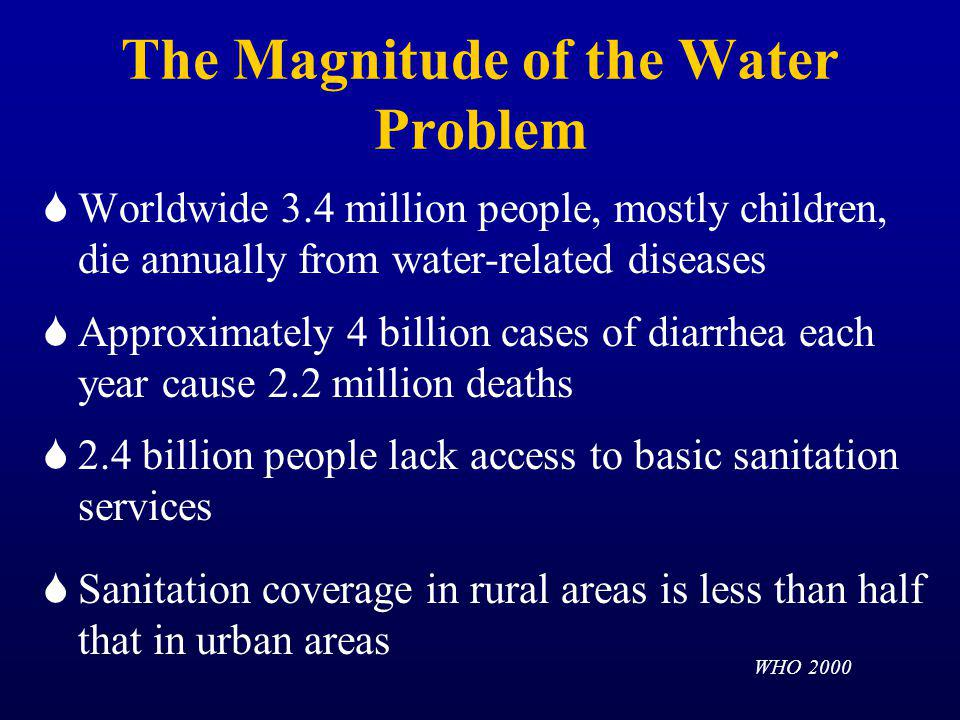 The Magnitude of the Water Problem Worldwide 3.4 million people, mostly children, die annually from water-related diseases Approximately 4 billion cases of diarrhea each year cause 2.2 million deaths 2.4 billion people lack access to basic sanitation services Sanitation coverage in rural areas is less than half that in urban areas WHO 2000