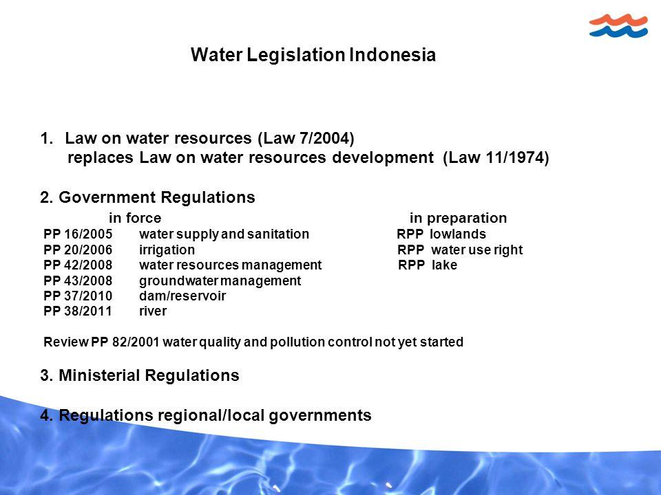 Water Legislation Indonesia 1.Law on water resources (Law 7/2004) replaces Law on water resources development (Law 11/1974) 2.