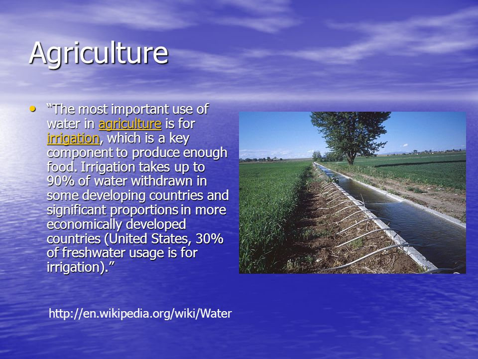 Agriculture The most important use of water in agriculture is for irrigation, which is a key component to produce enough food.