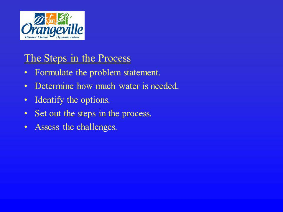 The Steps in the Process Formulate the problem statement.