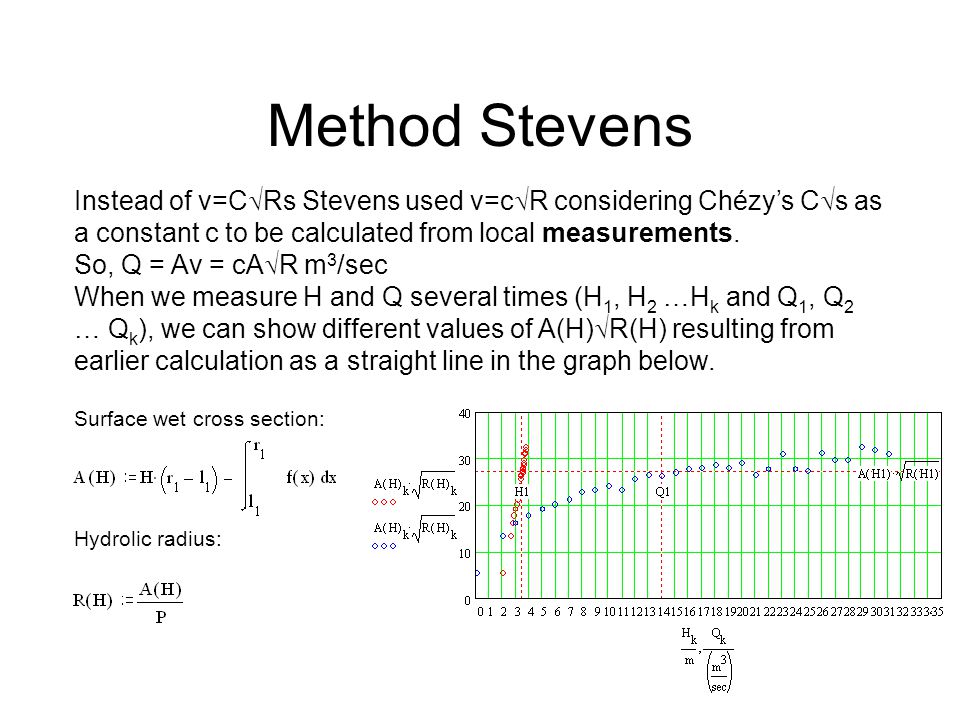 Method Stevens Instead of v=C Rs Stevens used v=c R considering Chézys C s as a constant c to be calculated from local measurements.